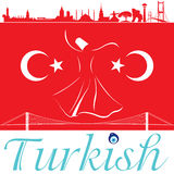 Turkish flag and silhouette landmarks Royalty Free Stock Images