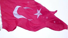 Turkish flag slow motion waving and it snows in Izmir Turkey stock video