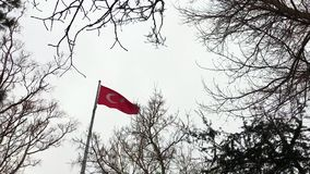 Turkish flag in a snowy day. Turkish flag at a snowy day in Istanbul, Turkey stock footage