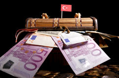 Turkish flag on top of crate royalty free stock photography