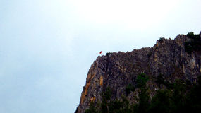 Turkish flag. On top of the mountain on blue sky Royalty Free Stock Photos