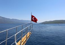 Turkish Flag of the Tour Boat Stock Photography