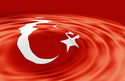 Turkish Flag on Wave Royalty Free Stock Photo