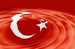 Turkish Flag on Wave Royalty Free Stock Photo