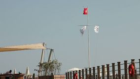 Turkish flag waving in blue sky, Flag of Turkey in the wind. Turkish flag waving in blue sky stock video