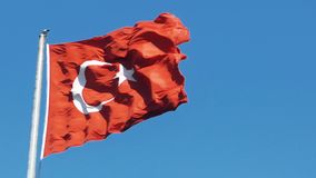 Slowmotion of Turkish flag waving in blue sky outdoors. Turkish flag waving in blue sky stock video footage