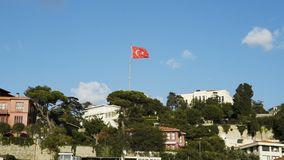 Slowmotion of Turkish flag waving in blue sky outdoors. Turkish flag waving in blue sky stock footage