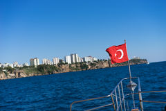 Turkish flag waving Stock Images