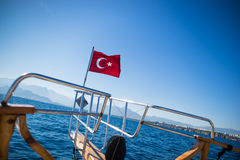 Turkish flag waving Stock Photos