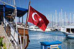 Turkish flag waving Royalty Free Stock Photos