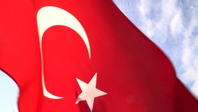 Turkish flag waving in Bodrum - TURKEY. Turkish flag waving in Bodrum stock video footage