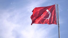 Turkish flag waving in Bodrum - TURKEY. Turkish flag waving in Bodrum stock footage
