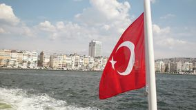 Turkish flag waving on ferry. Izmir -Turkey stock video