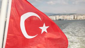 Turkish flag waving on ferry. stock video footage