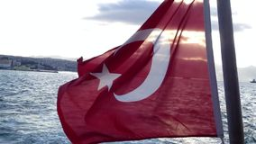 Turkish flag waving on ferry. Izmir -Turkey stock video footage