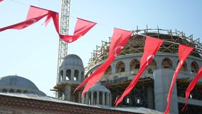 Turkish flag sun light. Turkish flag waving in Istambul stock video footage