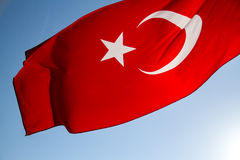 Turkish Flag. Waving in the sky Royalty Free Stock Images
