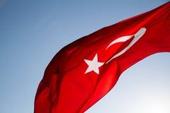 Turkish Flag. Waving in the sky Stock Photos