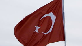 Turkish flag. Waving in the wind stock footage