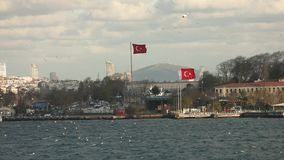 Turkish flag waving in the wind on the shores of the Bosphorus. large Turkish flag on the shores of the Bosphorus. Istanbul stock video