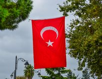 Turkish flag waving in the wind royalty free stock image