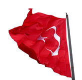 Turkish flag waving in windy day Stock Images