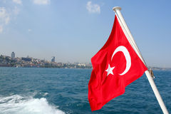 Turkish Flag with white crescent Stock Photography