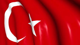 Turkish flag waving on wind. Turkish flag in white and red color waving on wind. Close up. 3D illustration and Rendering stock footage
