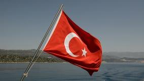 The Turkish flag on yacht. Antalya, Turkey stock video