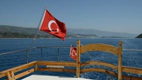 The Turkish flag on yacht. Antalya, Turkey stock video footage