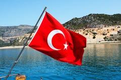 The Turkish flag on yacht Stock Photos