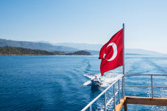 Turkish Flag from yacht Stock Image