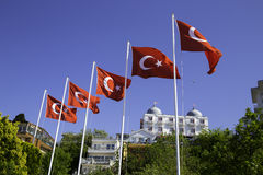 Turkish flags in Buyukada, Prince Islands, near Istanbul Stock Photography