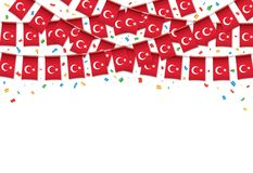 Turkish flags garland white background with confetti. Hang bunting for Turkey Day celebration template banner, Vector illustration Royalty Free Stock Images