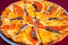 Turkish Flatbread. Turkish round flatbread bread with cheese tomatoes and slices of beef Stock Images