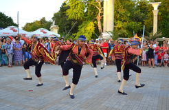 Turkish folklore dance. Turkish folk dance group in national costumes performance at street parade of 23rd International Folklore Festival  participants,Varna Royalty Free Stock Image