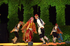 Turkish folklore  dance. Turkish folkloric dance group dressed in national costumes at Summer Theater stage Varna,Bulgaria at 24th edition of International Royalty Free Stock Photo