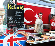 Turkish Food In Camden Market. A vendor selling Turkish food in the Stock Photos