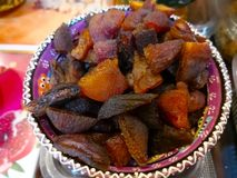 The Turkish food concept. Many pieces of Turkish dry fruit, that Royalty Free Stock Image