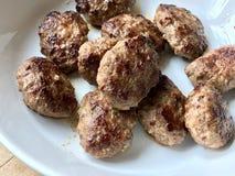 Turkish Food Meatballs Kofte / Kofta in White Plate. royalty free stock photography