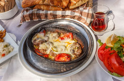 Turkish food with Roast meatballs Royalty Free Stock Photo
