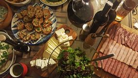 Turkish Foods with a Banquet. On a wooden table royalty free stock images