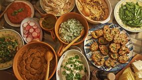 Turkish Foods with a Banquet. On a wooden table stock image