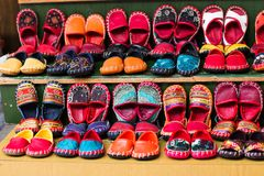 Turkish footwear. Turkish leather slipper, shoott on bazaar in Istanbul Royalty Free Stock Images