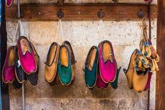 Turkish footwear. Turkish leather slipper, shoott on bazaar in Istanbul Stock Photos