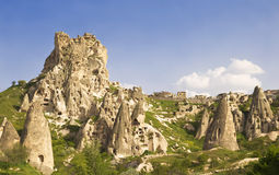 Turkish fortress cave Uchisar Cappadocia Royalty Free Stock Images