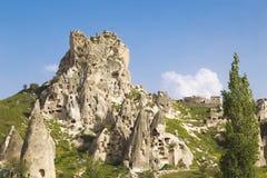Turkish fortress cave Uchisar Cappadocia Royalty Free Stock Photo