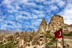 Turkish fortress Uchisar, Goreme landscape in Cappadocia, Turkey Royalty Free Stock Photos