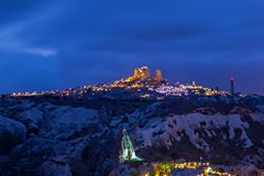 Turkish fortress Uchisar, landscape in Cappadocia, Turkey. Ancient town and a castle Turkish fortress Uchisar, landscape in Cappadocia, Turkey. . Spectacular royalty free stock images