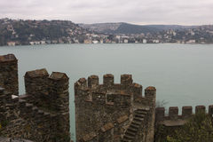 Turkish fortress wall on the background of the Bosporus.  Royalty Free Stock Images